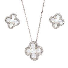 Sterling Silver Cubic Zirconia Flower Necklace and Earring Set