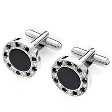 Classic Rhodium Plated Onyx Cufflinks
