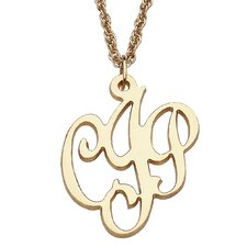 14K Gold over Sterling Silver Initial Monogram Pendant