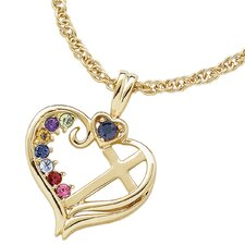 Gold over Sterling Silver Birthstone Heart Cross Necklace - 7 stone