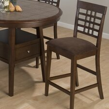 Weave Grid Counter Height Stool with Chocolate Microfiber Seat