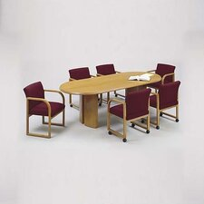 "Contemporary Series 96"" Oval Conference Table with Radius Profile (Split Curved Panel Base)"