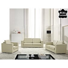 Helsinki European 3 Piece Leather Living Room Set