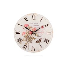 Rose and Butterfly Wall Clock