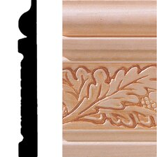 "0.5"" x 4"" Hardwood Embossed Oak Leaf Base Moulding"