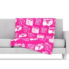 Camera Pattern Microfiber Fleece Throw Blanket