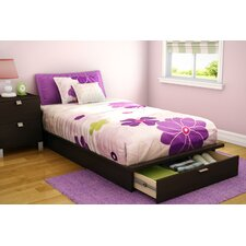 "Twin 39"" Platform Bed with Drawer in Chocolate"