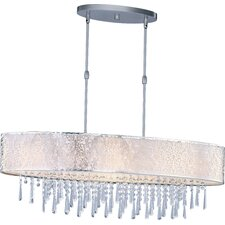 "Rapture 14"" Nine Light Pendant with White Shade in Satin Nickel"