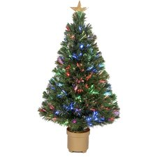 "Fiber Optic 2' 8"" Green Artificial Christmas Tree with LED Muticolor Light"