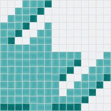 "Urban Essentials 12"" x 12"" Houndstooth Mosaic Pattern Tile in Deep Teal"