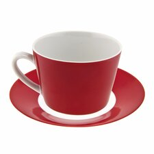 Soho Red Flared 10 oz. Tea Cup and Saucer