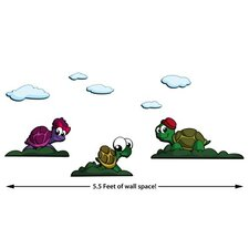 Turtle Friends 8 Piece Scene 3D Cartoon Wall Art