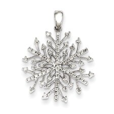 14k White Gold Snowflake Diamond Pendant