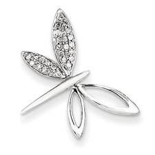 14k White Gold Dragonfly Diamond Pendant