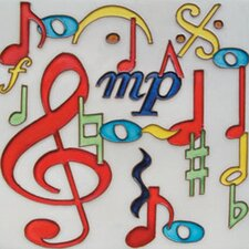 "8"" x 8"" Music Note Art Tile in Multi"