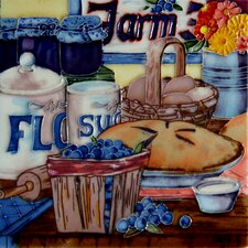 "8"" x 8"" Berry Pie and Basket Art Tile in Multi"
