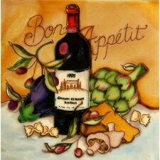 "8"" x 8"" Bon Appetit Wine Art Tile in Multi"