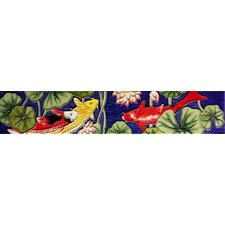 "16"" x 3"" Koi Pond Art Tile in Multi"