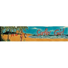 "16"" x 3"" Surfer Girl Art Tile in Multi"