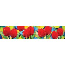 "16"" x 3"" Tulips Art Tile in Red"