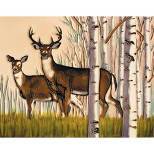"14"" x 11"" Deers Art Tile in Brown"