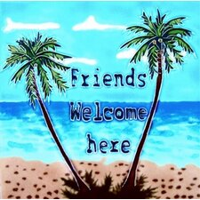 "8"" x 8"" Friend Welcome Palm Tree Art Tile in Green"