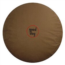 """Good Dog"" Logo Round Pet Bed in Olive Green"