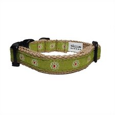 Green Flower Cotton Tiny Dog Collar