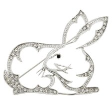 King Hare Rabbit Animal Crystal Brooch