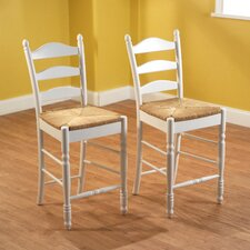 "24"" Ladder Back Stool in White (Set of 2)"