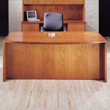 "Forte 72"" W Full Double Pedestal Bow Front Executive Desk - 3 File/ 2 Box Drawers"