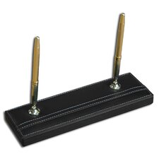 3200 Series Leather Double Pen Stand in Rustic Black