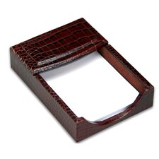 2000 Series Crocodile Embossed Leather 4 x 6 Memo Holder in Brown