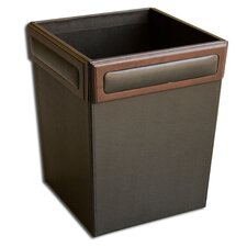 8000 Series Walnut and Leather Square Waste Basket
