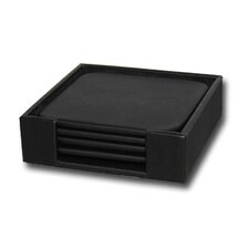1000 Series Classic Leather Four Square Coaster Set with Holder in Black