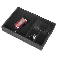 2000 Series Crocodile Embossed Leather Standard Valet Tray in Black