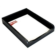 2000 Series Crocodile Embossed Leather Front-Load Letter Tray in Black