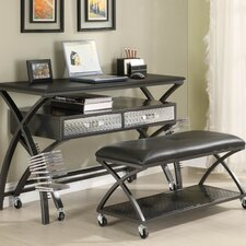813 Series Work Station and813 Series Gaming Console with Two Seater Bench in Distressed Gun Metal Gray
