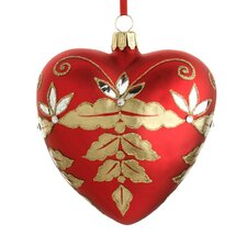 Crimson Heart Blown Glass Ornament