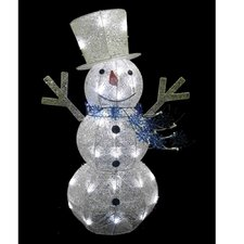 Glittering Snowman with Top Hat and Scarf