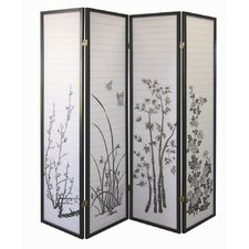 Four Panel Room Divider with Floral Design in Black