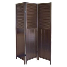 3 Panel Room with Shutter Door Divider in Espresso