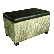 Chanille and Faux Leather Storage Bench