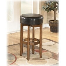 "Thorndike 30"" Upholstered Backless Swivel Bar Stool in Warm Brown"