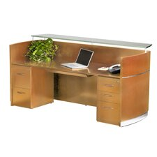 "Napoli 87"" W Reception Desk with 2 Pedestals"