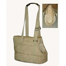 Pet Carrier in Tan Patterned Suede