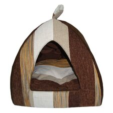 Striped Tent Pet Bed in Brown