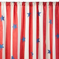 Stars and Stripes Cotton Rod Pocket Curtain Single Panel