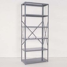 Industrial Clip Open Shelving: Angle Post Units with 6 Shelf Frames; Adder Unit