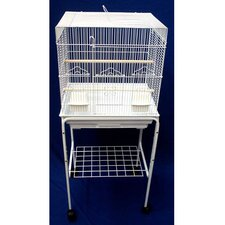 Square Top Small Bird Cage with Stand in White